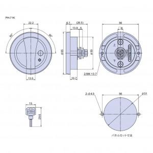 ボタン付丸型平面ハンドル PH-71Kの図面