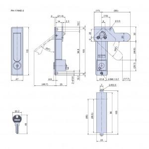 平面ハンドル PH-174KE-2(シリンダー錠付)の図面