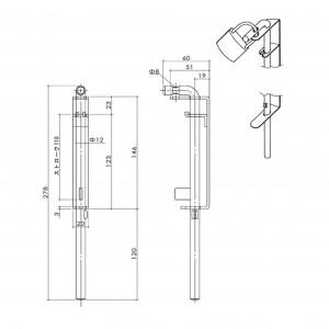 ステンレス門落し D-83(小) 鍵掛式の図面
