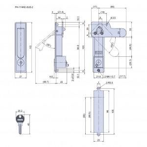 平面ハンドル PH-174KE-SUS、AE-SUSの図面