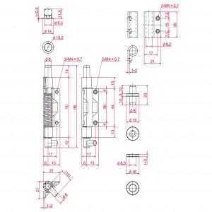 点検口用ピボットヒンジ(ビス止めタイプ) B-401の図面